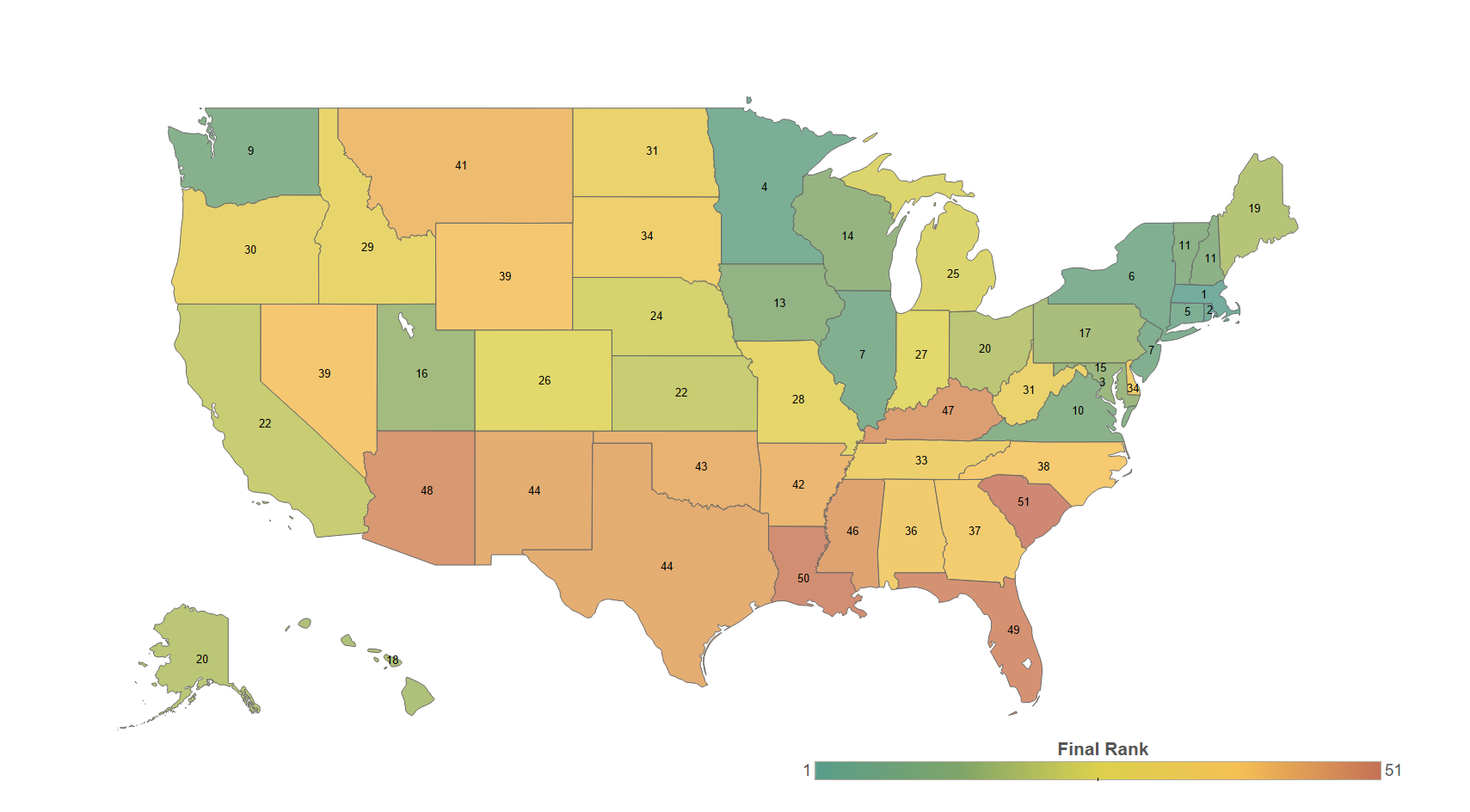 Best States for Traffic-Related Fatalities - 2017